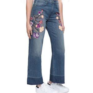 Sandrine Rose Crop Wide Leg Jeans Embroidered 27